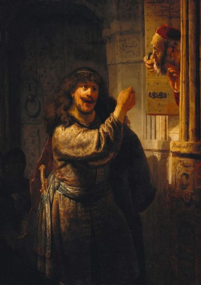 Rembrandt: Samson Threatening His Father in Law. Fine Art Print/Poster. Sizes: A4/A3/A2/A1 (003903)